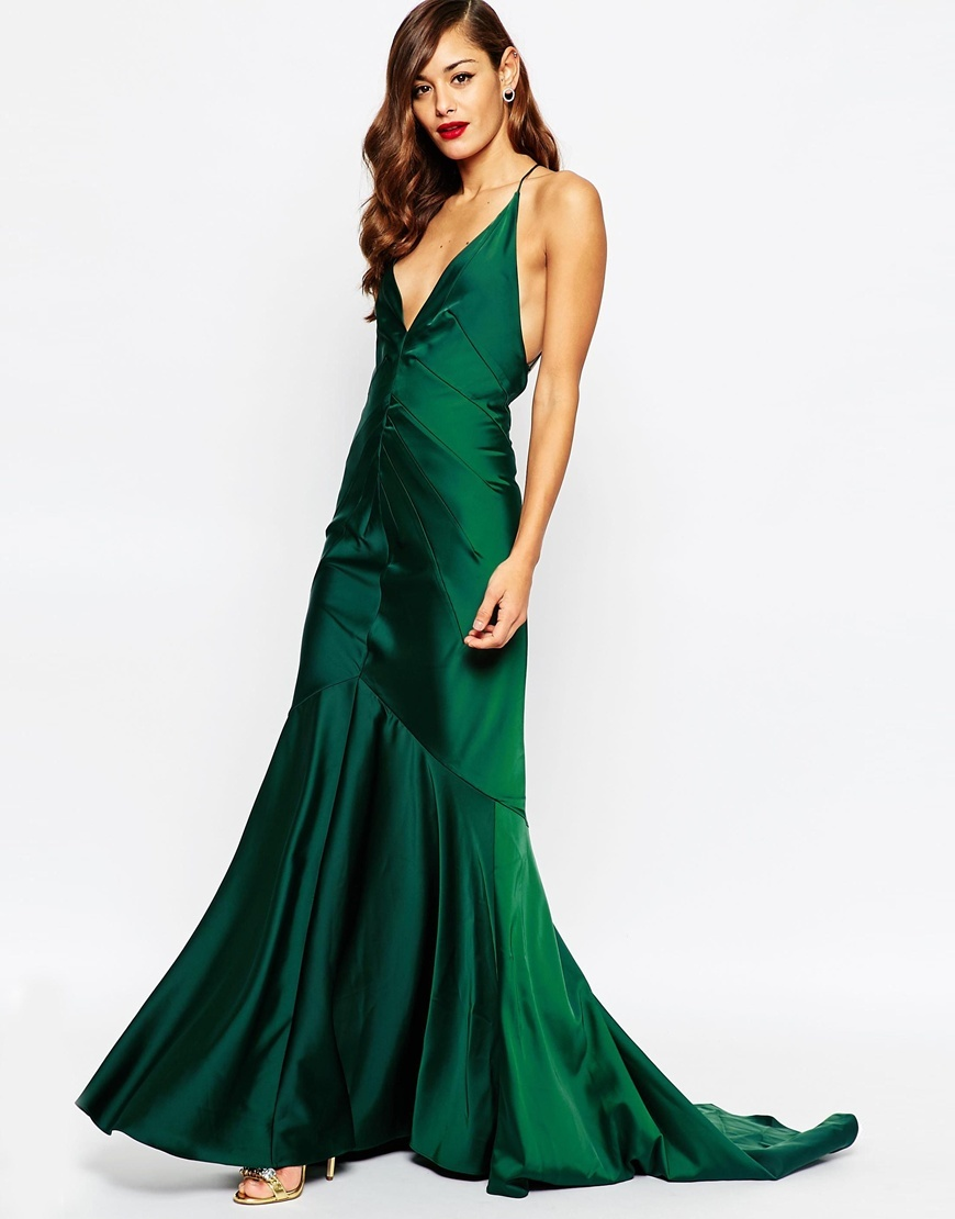 Red Carpet Deep Plunge Soft Fishtail Maxi Dress Red - neckline: plunge; sleeve style: spaghetti straps; pattern: plain; back detail: back revealing; predominant colour: emerald green; occasions: evening, occasion; length: floor length; fit: body skimming; fibres: polyester/polyamide - 100%; style: fishtail; hip detail: subtle/flattering hip detail; sleeve length: sleeveless; texture group: structured shiny - satin/tafetta/silk etc.; pattern type: fabric; season: a/w 2015; wardrobe: event
