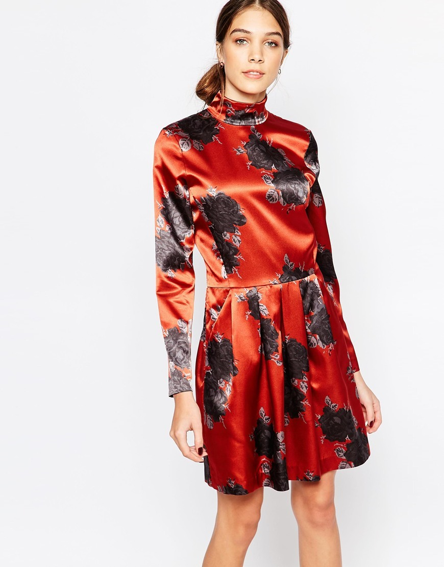 Satin Dress With High Neck In Floral Print Rust 942 - neckline: high neck; predominant colour: true red; secondary colour: navy; occasions: evening; length: just above the knee; fit: body skimming; style: fit & flare; fibres: polyester/polyamide - 100%; sleeve length: long sleeve; sleeve style: standard; pattern type: fabric; pattern size: standard; pattern: patterned/print; texture group: other - light to midweight; season: a/w 2015; wardrobe: event