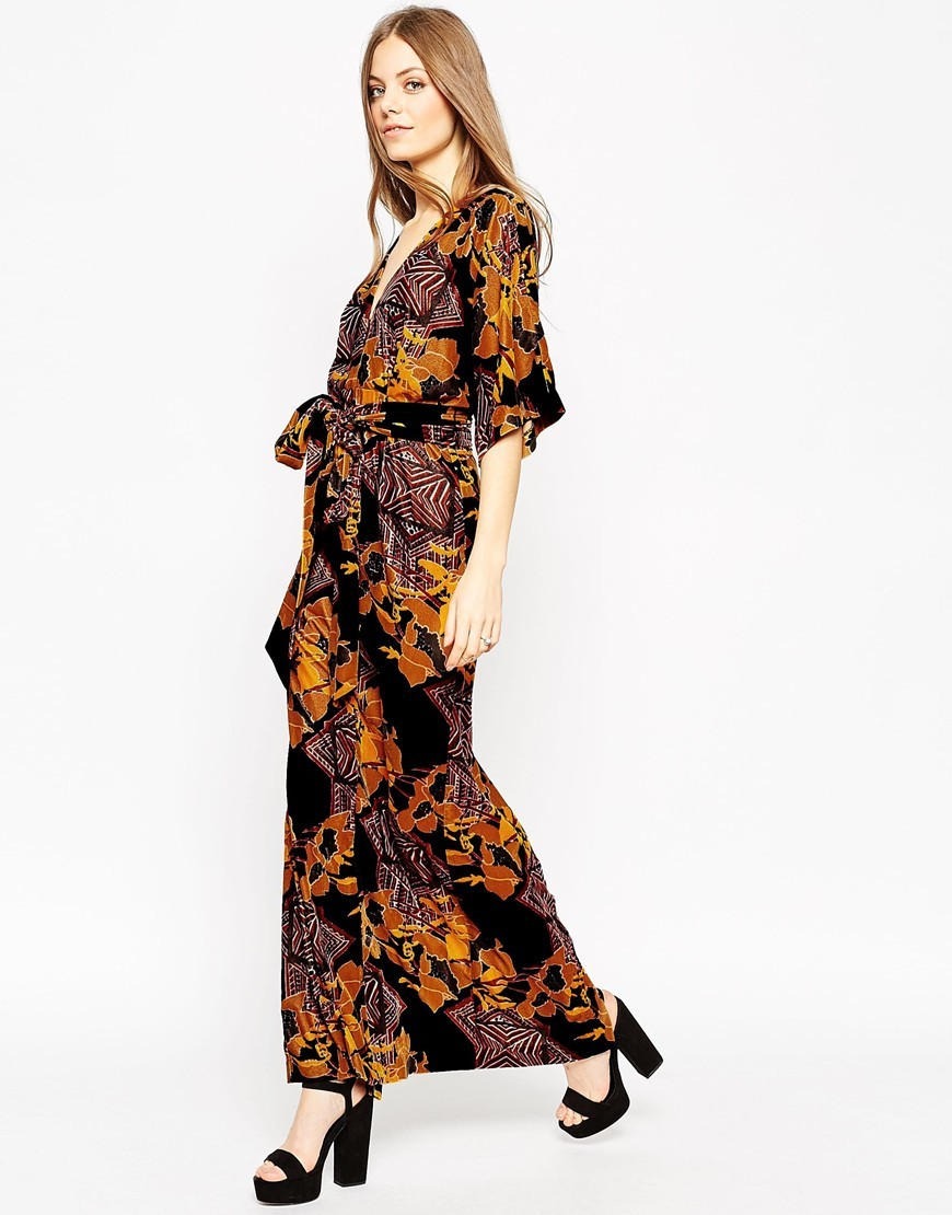 Devore Print Kaftan Maxi Dress Multi - neckline: v-neck; style: maxi dress; length: ankle length; waist detail: belted waist/tie at waist/drawstring; secondary colour: aubergine; predominant colour: black; occasions: casual, evening, creative work; fit: straight cut; fibres: viscose/rayon - stretch; sleeve length: 3/4 length; sleeve style: standard; pattern type: fabric; pattern size: big & busy; pattern: patterned/print; texture group: jersey - stretchy/drapey; multicoloured: multicoloured; season: a/w 2015; wardrobe: highlight