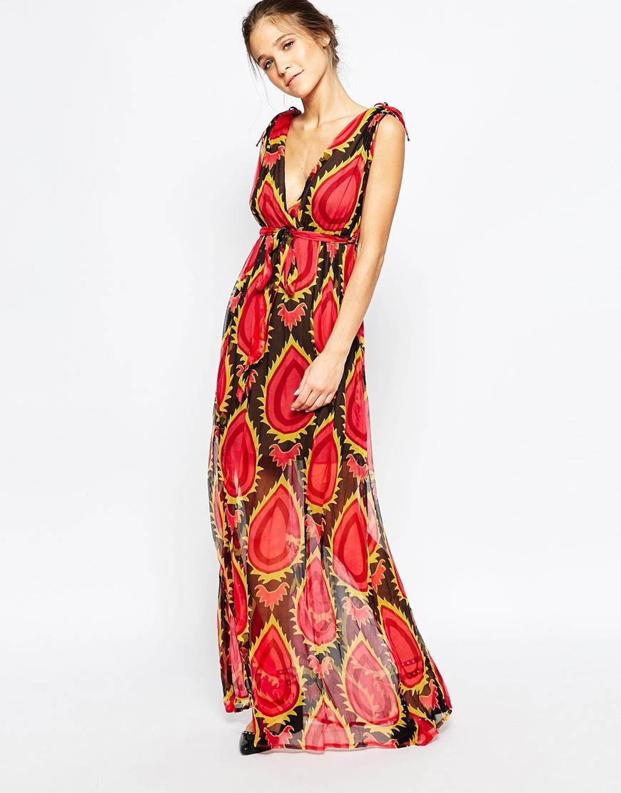 Silk Maxi Dress In Abstract Floral Print Black/Red - neckline: low v-neck; fit: empire; sleeve style: sleeveless; style: maxi dress; secondary colour: chocolate brown; occasions: evening; length: floor length; fibres: polyester/polyamide - 100%; hip detail: soft pleats at hip/draping at hip/flared at hip; sleeve length: sleeveless; texture group: sheer fabrics/chiffon/organza etc.; pattern type: fabric; pattern size: big & busy; pattern: patterned/print; predominant colour: raspberry; multicoloured: multicoloured; season: a/w 2015