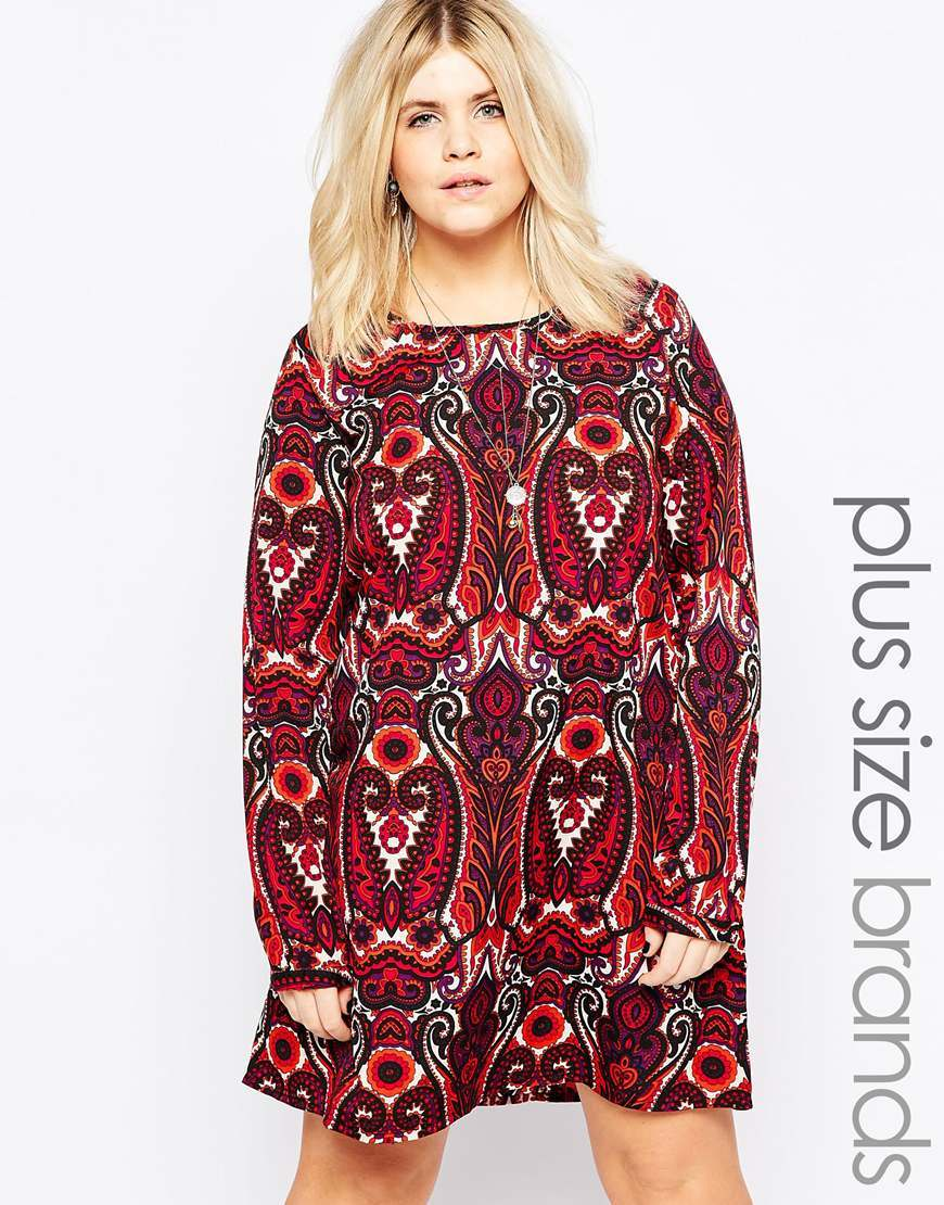 Plus Shift Dress In 70's Print Red - style: shift; pattern: paisley; secondary colour: white; predominant colour: burgundy; occasions: casual; length: just above the knee; fit: body skimming; fibres: polyester/polyamide - 100%; neckline: crew; sleeve length: long sleeve; sleeve style: standard; pattern type: fabric; texture group: other - light to midweight; multicoloured: multicoloured; season: a/w 2015; wardrobe: highlight