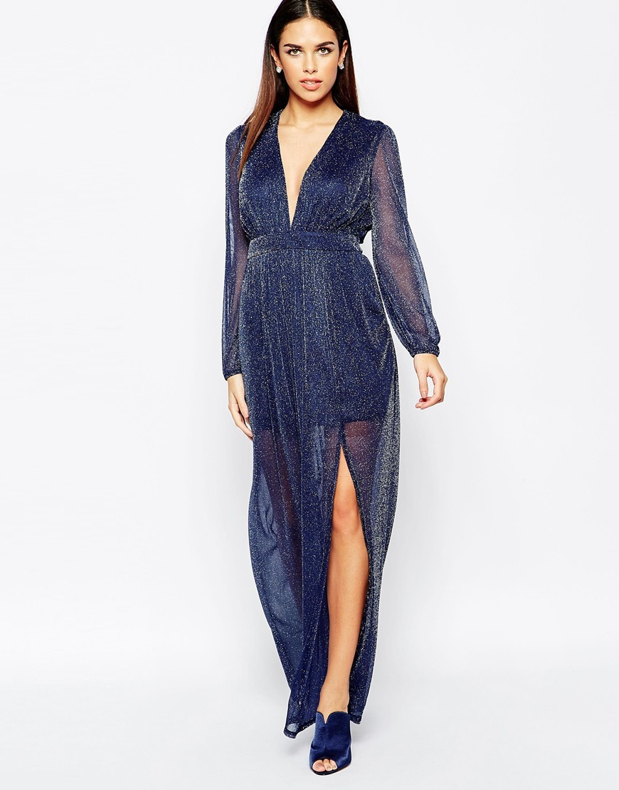 Long Sleeve Maxi Dress In Glitter Fabric Navy - neckline: plunge; fit: fitted at waist; pattern: plain; style: maxi dress; length: ankle length; waist detail: fitted waist; hip detail: draws attention to hips; predominant colour: navy; occasions: evening, occasion; fibres: polyester/polyamide - 100%; sleeve length: long sleeve; sleeve style: standard; texture group: sheer fabrics/chiffon/organza etc.; pattern type: fabric; embellishment: glitter; season: a/w 2015; wardrobe: event