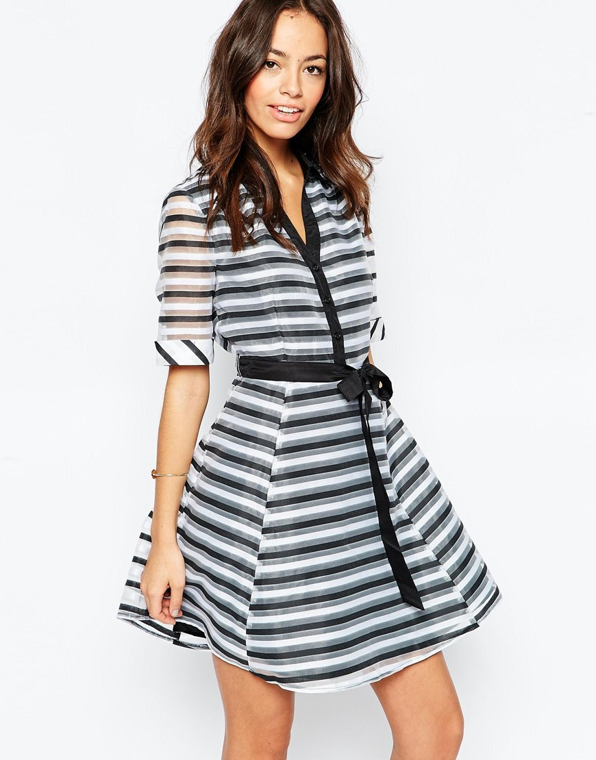 Skater Shirt Dress In Stripe White/Black - pattern: horizontal stripes; style: full skirt; waist detail: belted waist/tie at waist/drawstring; secondary colour: white; predominant colour: black; occasions: evening; length: just above the knee; fit: fitted at waist & bust; neckline: collarstand & mandarin with v-neck; fibres: polyester/polyamide - 100%; sleeve length: half sleeve; sleeve style: standard; texture group: sheer fabrics/chiffon/organza etc.; pattern type: fabric; multicoloured: multicoloured; season: a/w 2015; wardrobe: event