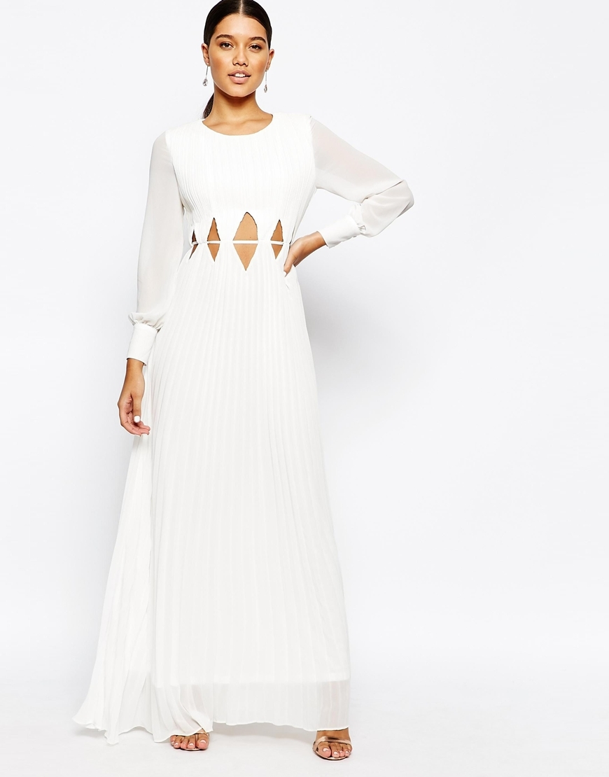 Long Sleeve Maxi Dress With Cut Out Waist Cream - pattern: plain; style: maxi dress; predominant colour: white; occasions: evening; length: floor length; fit: body skimming; fibres: polyester/polyamide - 100%; neckline: crew; waist detail: cut out detail; sleeve length: long sleeve; sleeve style: standard; texture group: sheer fabrics/chiffon/organza etc.; pattern type: fabric; season: a/w 2015