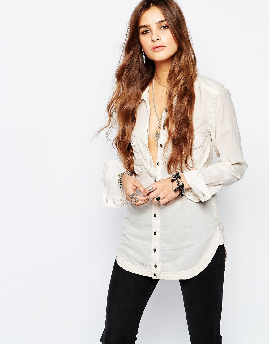 Last Chance Button Down Shirt In Cream Pearl 1124 - neckline: shirt collar/peter pan/zip with opening; pattern: plain; length: below the bottom; style: shirt; predominant colour: ivory/cream; occasions: casual, creative work; fibres: cotton - mix; fit: body skimming; sleeve length: long sleeve; sleeve style: standard; texture group: cotton feel fabrics; pattern type: fabric; season: a/w 2015; wardrobe: basic