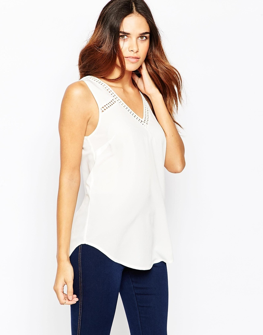 Geo Lace Insert V Front And V Back Vest Cream - neckline: v-neck; pattern: plain; sleeve style: sleeveless; style: vest top; predominant colour: white; occasions: casual, creative work; length: standard; fibres: polyester/polyamide - 100%; fit: body skimming; sleeve length: sleeveless; texture group: crepes; pattern type: fabric; embellishment: lace; season: a/w 2015; wardrobe: highlight