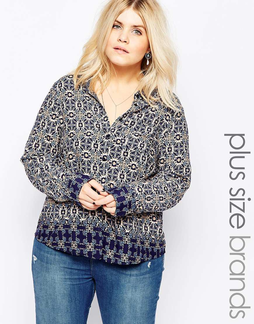 Plus Shirt In Jewel Print Navy - neckline: v-neck; secondary colour: white; predominant colour: black; occasions: casual, creative work; length: standard; style: top; fibres: viscose/rayon - 100%; fit: body skimming; sleeve length: long sleeve; sleeve style: standard; pattern type: fabric; pattern size: standard; pattern: patterned/print; texture group: other - light to midweight; season: a/w 2015; wardrobe: highlight