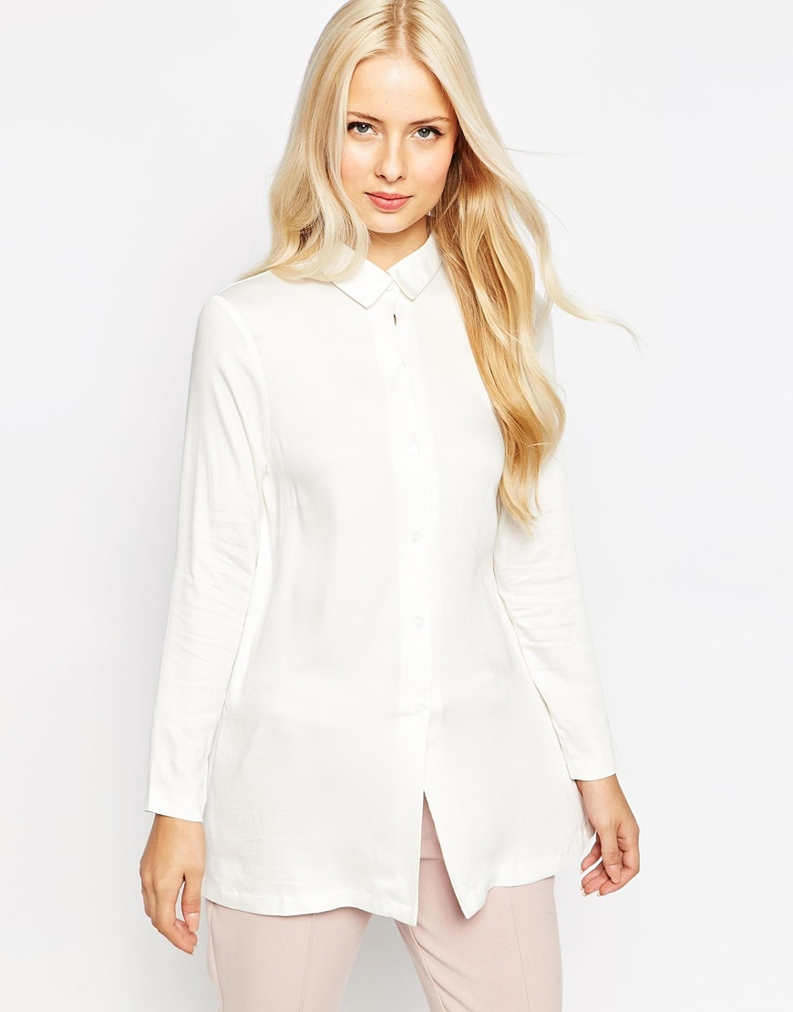 Closet Shirt With Split Back Cream - neckline: shirt collar/peter pan/zip with opening; pattern: plain; length: below the bottom; style: shirt; predominant colour: ivory/cream; occasions: casual, creative work; fibres: polyester/polyamide - 100%; fit: loose; sleeve length: long sleeve; sleeve style: standard; texture group: crepes; pattern type: fabric; season: a/w 2015; wardrobe: basic
