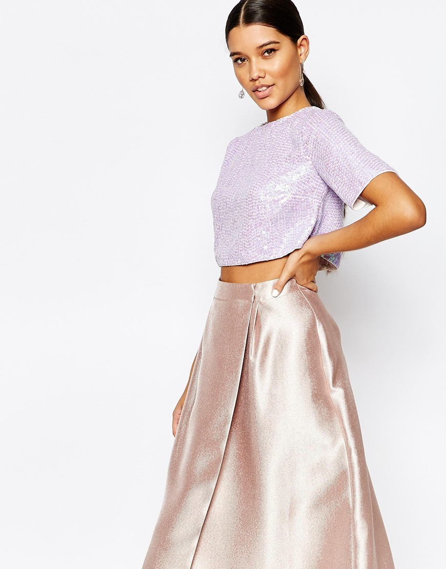 Sequin Crop Top Dusky Lilac - pattern: plain; length: cropped; predominant colour: lilac; occasions: evening; style: top; fibres: polyester/polyamide - 100%; fit: straight cut; neckline: crew; sleeve length: short sleeve; sleeve style: standard; pattern type: fabric; texture group: other - light to midweight; embellishment: sequins; season: a/w 2015; wardrobe: event