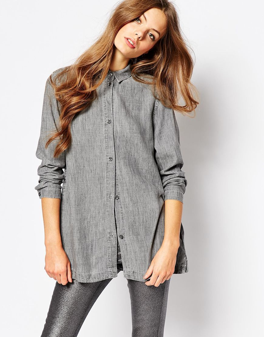 Nott Button Front Linen Mix Denim Shirt Cool Grey - neckline: shirt collar/peter pan/zip with opening; pattern: plain; length: below the bottom; style: shirt; predominant colour: mid grey; occasions: casual, creative work; fibres: linen - 100%; fit: loose; sleeve length: long sleeve; sleeve style: standard; texture group: linen; pattern type: fabric; season: a/w 2015