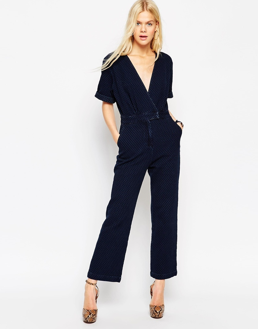 Textured Denim Jumpsuit Darkwash Blue - length: standard; neckline: low v-neck; pattern: plain; waist detail: belted waist/tie at waist/drawstring; predominant colour: navy; occasions: casual, creative work; fit: straight cut; fibres: cotton - 100%; sleeve length: short sleeve; sleeve style: standard; texture group: denim; style: jumpsuit; pattern type: fabric; season: a/w 2015; wardrobe: highlight