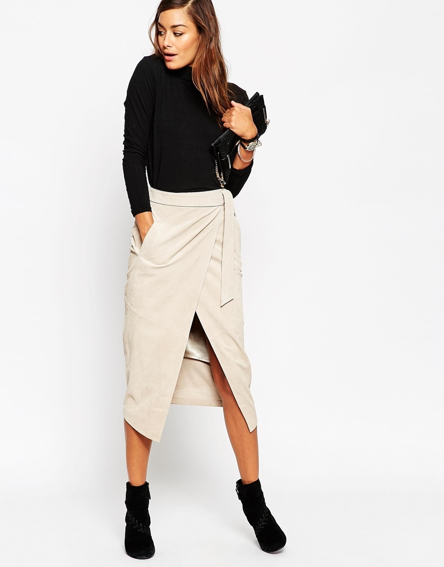 Suede Pencil Skirt With Obi Self Belt Light Stone - length: below the knee; pattern: plain; style: wrap/faux wrap; fit: body skimming; waist: high rise; waist detail: belted waist/tie at waist/drawstring; predominant colour: ivory/cream; fibres: leather - 100%; pattern type: fabric; texture group: suede; occasions: creative work; season: a/w 2015; wardrobe: highlight