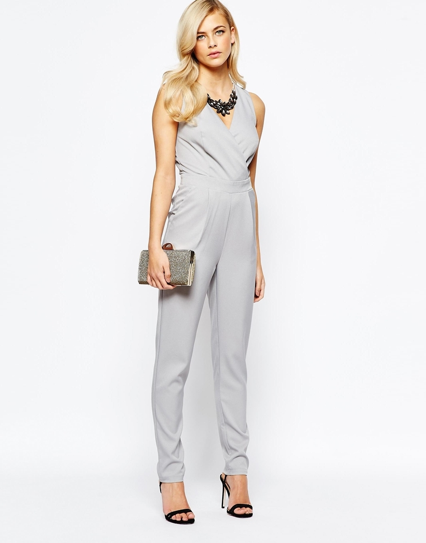 Wrap Front Embellished Necklace Jumpsuit Grey - length: standard; neckline: v-neck; pattern: plain; sleeve style: sleeveless; predominant colour: light grey; occasions: evening; fit: body skimming; fibres: polyester/polyamide - 100%; sleeve length: sleeveless; style: jumpsuit; pattern type: fabric; texture group: jersey - stretchy/drapey; season: a/w 2015; wardrobe: event
