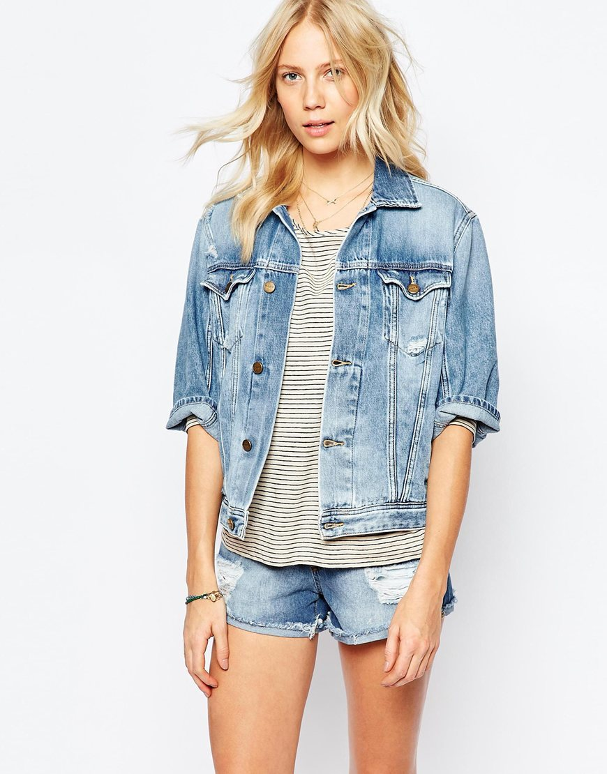 Boyfriend Retro Denim Jacket Blue - pattern: plain; style: denim; predominant colour: denim; occasions: casual, creative work; length: standard; fit: straight cut (boxy); fibres: cotton - 100%; collar: shirt collar/peter pan/zip with opening; sleeve length: long sleeve; sleeve style: standard; texture group: denim; collar break: high; pattern type: fabric; season: a/w 2015
