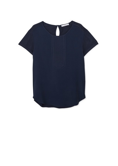 Openwork Panel T Shirt - pattern: plain; bust detail: ruching/gathering/draping/layers/pintuck pleats at bust; predominant colour: navy; occasions: casual, creative work; length: standard; style: top; fibres: polyester/polyamide - 100%; fit: straight cut; neckline: crew; back detail: keyhole/peephole detail at back; sleeve length: short sleeve; sleeve style: standard; texture group: crepes; pattern type: fabric; season: a/w 2015