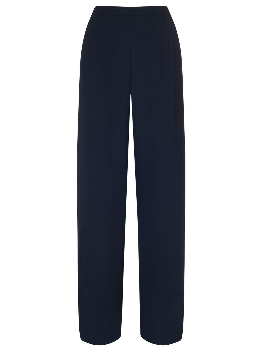 Pleated Side Chiffon Trouser - length: standard; pattern: plain; waist: high rise; predominant colour: navy; occasions: casual, creative work; fibres: polyester/polyamide - 100%; texture group: crepes; fit: wide leg; pattern type: fabric; style: standard; season: a/w 2015
