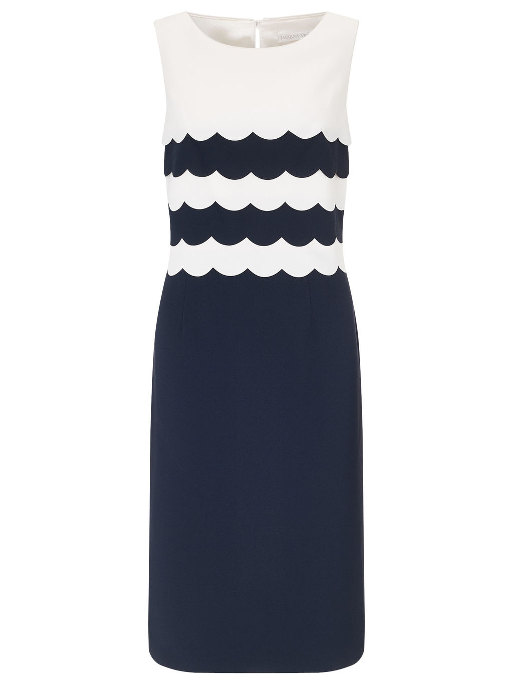 Scallop Layers Dress - style: shift; neckline: round neck; sleeve style: standard vest straps/shoulder straps; fit: tailored/fitted; secondary colour: white; predominant colour: navy; length: on the knee; fibres: polyester/polyamide - 100%; occasions: occasion; sleeve length: sleeveless; pattern type: fabric; pattern size: standard; pattern: colourblock; texture group: woven light midweight; season: a/w 2015