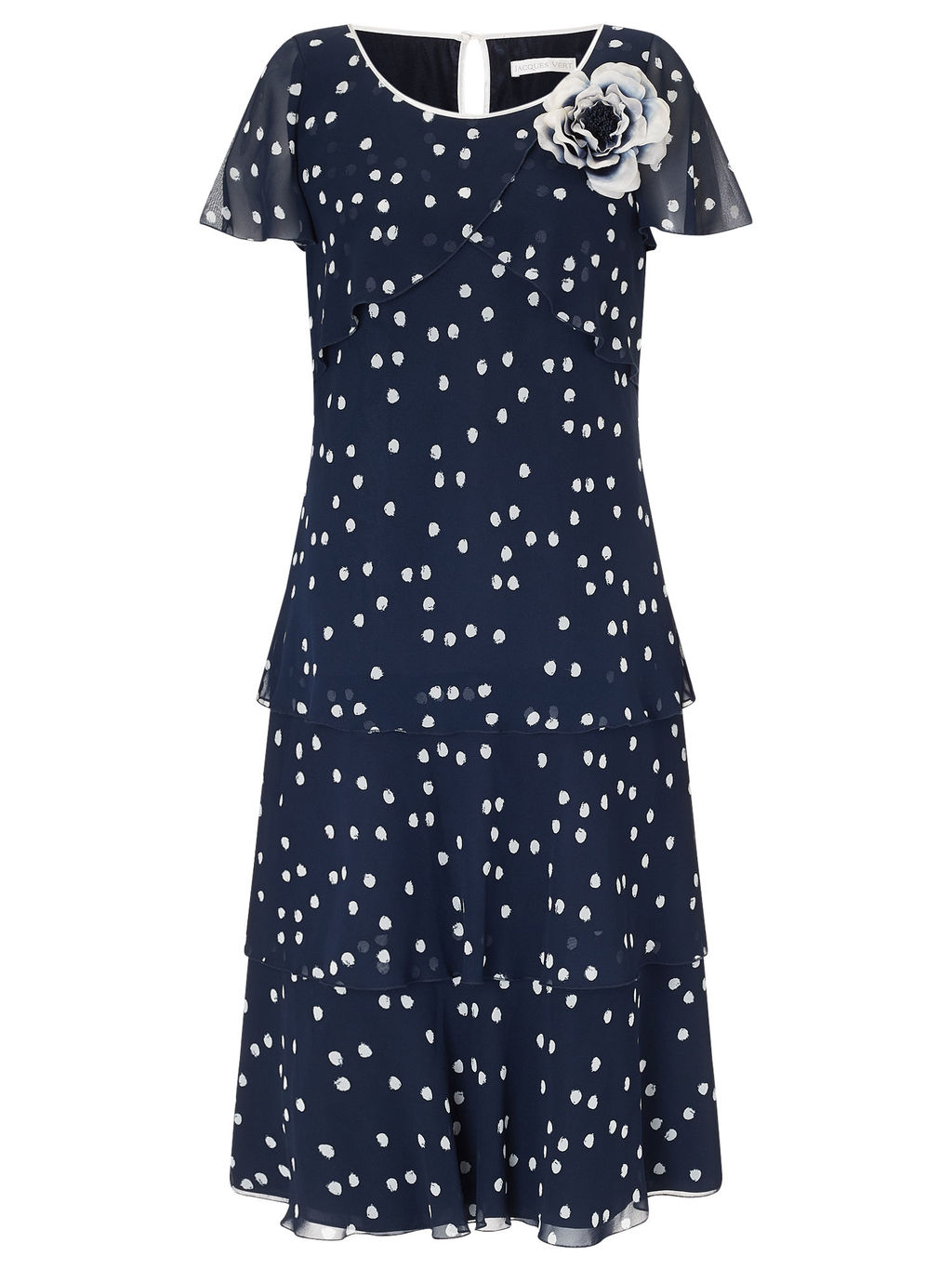 Brushstroke Spot Dress - style: shift; length: below the knee; neckline: round neck; sleeve style: capped; pattern: polka dot; secondary colour: white; predominant colour: navy; fit: soft a-line; fibres: polyester/polyamide - 100%; occasions: occasion; back detail: keyhole/peephole detail at back; sleeve length: short sleeve; texture group: sheer fabrics/chiffon/organza etc.; pattern type: fabric; pattern size: standard; embellishment: corsage; season: a/w 2015