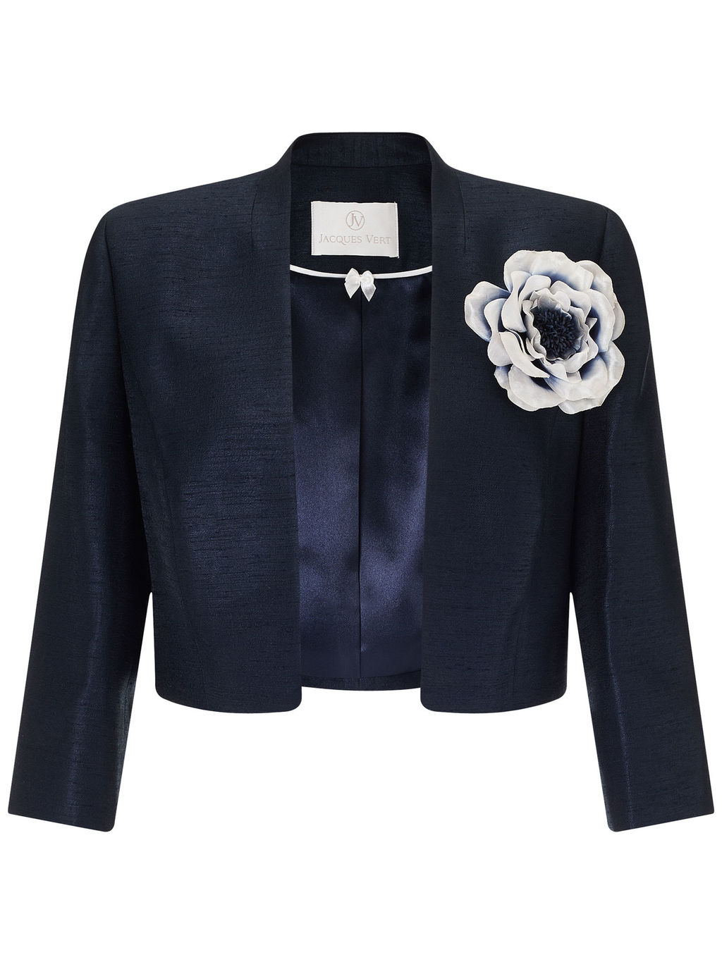 Stand Collar Bolero - pattern: plain; style: bolero/shrug; collar: round collar/collarless; secondary colour: white; predominant colour: navy; fit: tailored/fitted; fibres: polyester/polyamide - 100%; occasions: occasion; sleeve length: 3/4 length; sleeve style: standard; texture group: structured shiny - satin/tafetta/silk etc.; collar break: low/open; pattern type: fabric; embellishment: corsage; length: cropped; season: a/w 2015; wardrobe: event