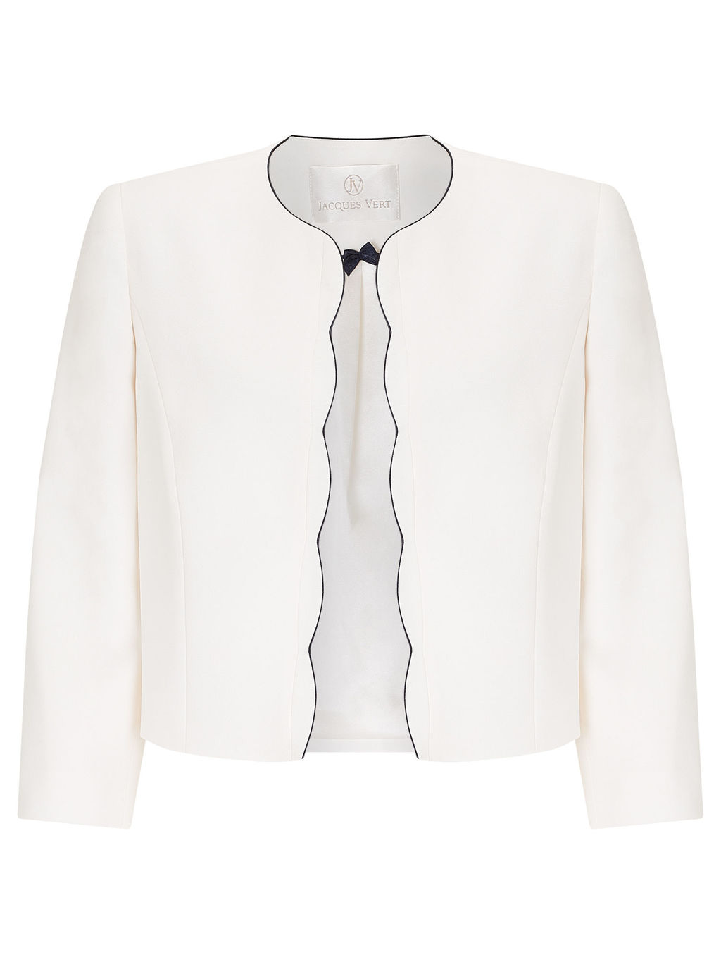 Scallop Edge Jacket, Light Neutral - pattern: plain; collar: round collar/collarless; style: boxy; predominant colour: ivory/cream; secondary colour: black; fit: straight cut (boxy); occasions: occasion; sleeve length: 3/4 length; sleeve style: standard; texture group: silky - light; collar break: high; pattern type: fabric; fibres: viscose/rayon - mix; length: cropped; season: a/w 2015; wardrobe: event