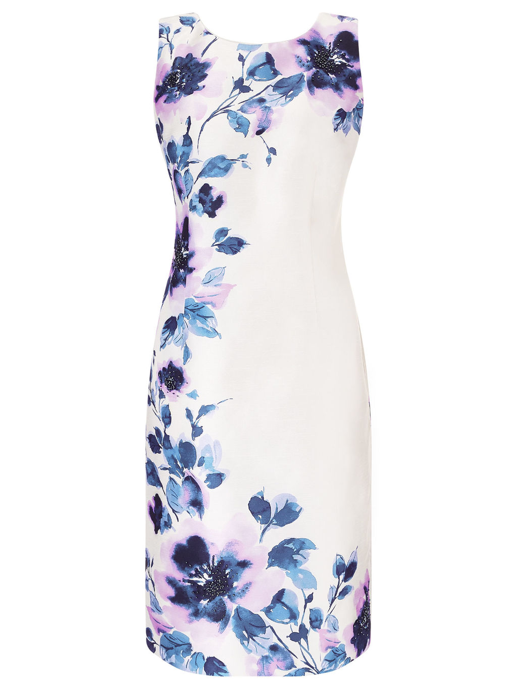 Peony Placement Print Dress, Cream/Multi - style: shift; neckline: round neck; sleeve style: standard vest straps/shoulder straps; fit: tailored/fitted; secondary colour: ivory/cream; predominant colour: royal blue; occasions: evening, occasion; length: just above the knee; fibres: polyester/polyamide - 100%; sleeve length: sleeveless; texture group: structured shiny - satin/tafetta/silk etc.; pattern type: fabric; pattern size: big & busy; pattern: florals; multicoloured: multicoloured; season: a/w 2015