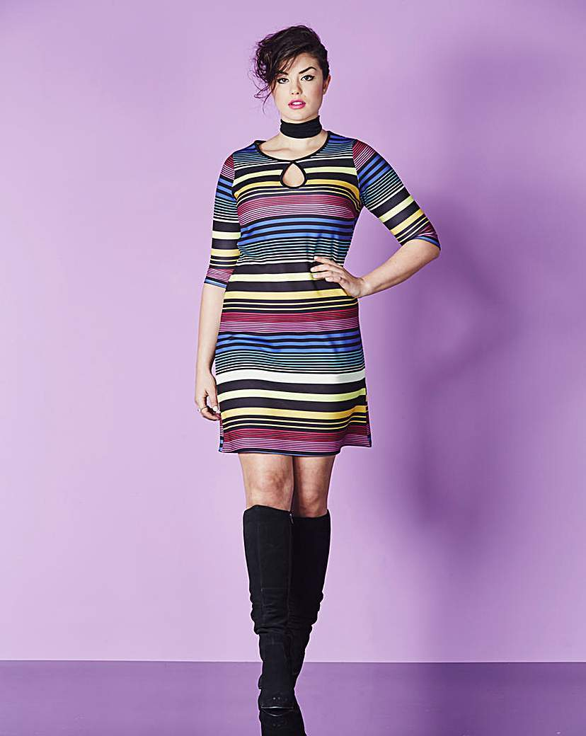 Stripe Swing Dress - style: shift; pattern: horizontal stripes; predominant colour: diva blue; occasions: evening; length: just above the knee; fit: soft a-line; fibres: polyester/polyamide - stretch; neckline: crew; sleeve length: half sleeve; sleeve style: standard; pattern type: fabric; texture group: jersey - stretchy/drapey; multicoloured: multicoloured; season: a/w 2015; wardrobe: event