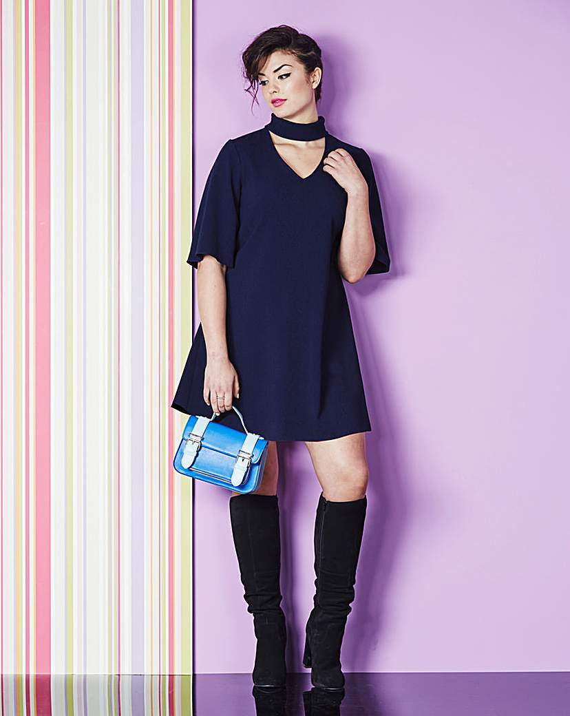 Roll Neck Dress - style: shift; neckline: v-neck; pattern: plain; predominant colour: navy; occasions: evening; length: just above the knee; fit: soft a-line; fibres: polyester/polyamide - stretch; sleeve length: half sleeve; sleeve style: standard; pattern type: fabric; texture group: other - light to midweight; season: a/w 2015; wardrobe: event
