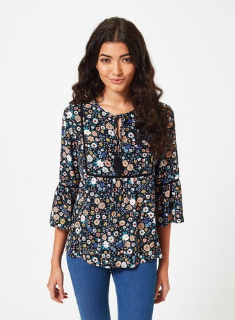 Womens Petite Dark Floral Blouse, Black - length: below the bottom; style: blouse; predominant colour: navy; secondary colour: nude; occasions: casual, creative work; fibres: viscose/rayon - 100%; fit: body skimming; neckline: crew; sleeve length: 3/4 length; sleeve style: standard; pattern type: fabric; pattern size: standard; pattern: florals; texture group: other - light to midweight; multicoloured: multicoloured; season: a/w 2015