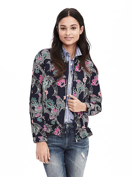 Bird Print Drapey Bomber Jacket Preppy Navy - collar: round collar/collarless; style: bomber; secondary colour: hot pink; predominant colour: navy; occasions: casual, creative work; length: standard; fit: straight cut (boxy); fibres: polyester/polyamide - mix; sleeve length: long sleeve; sleeve style: standard; collar break: high; pattern type: fabric; pattern: florals; texture group: woven light midweight; pattern size: big & busy (top); multicoloured: multicoloured; season: a/w 2015; wardrobe: highlight