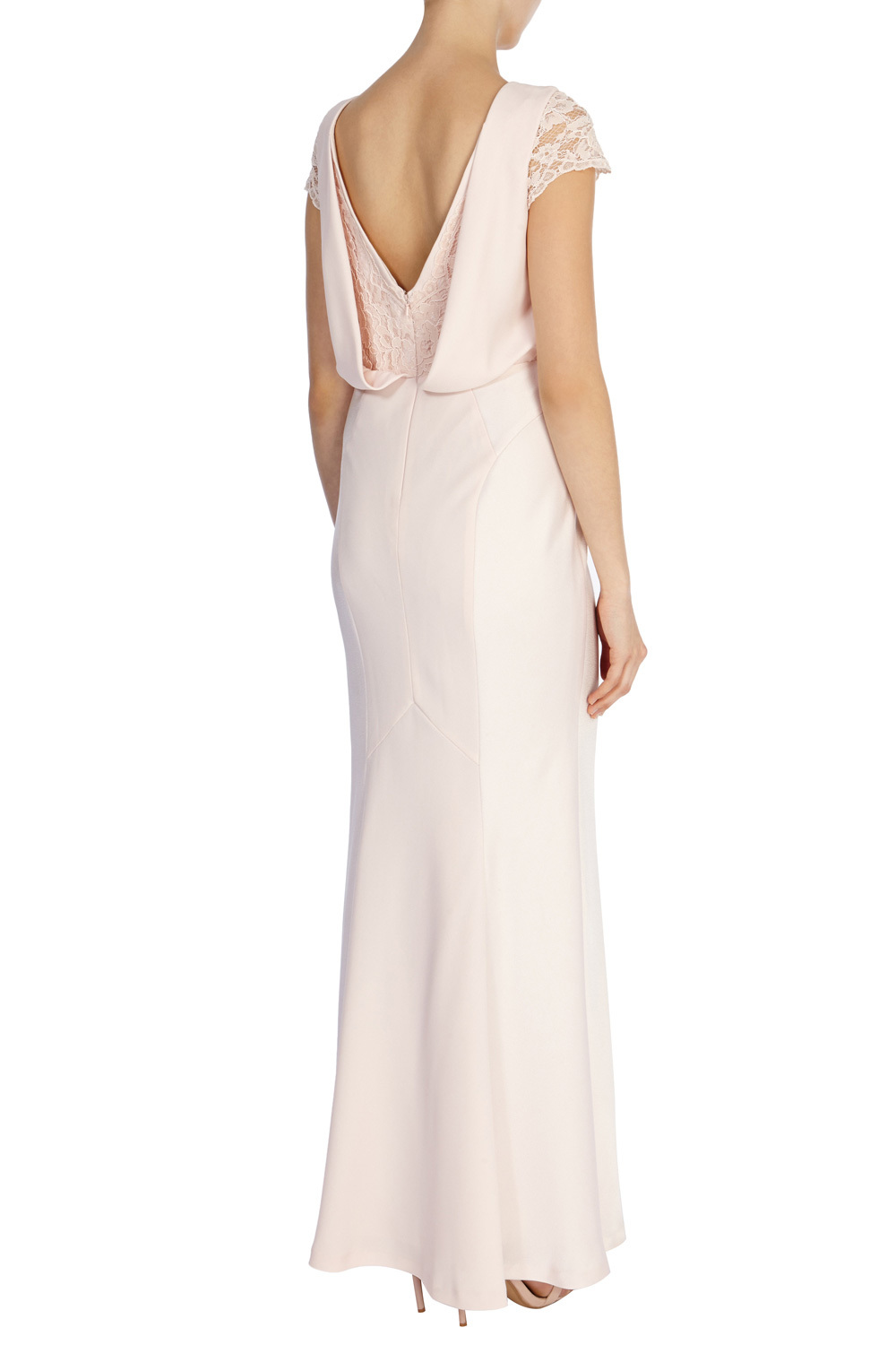 Adelina Maxi Dress - neckline: round neck; sleeve style: capped; pattern: plain; style: maxi dress; back detail: low cut/open back; predominant colour: blush; length: floor length; fit: body skimming; fibres: polyester/polyamide - 100%; occasions: occasion; sleeve length: sleeveless; pattern type: fabric; texture group: other - light to midweight; embellishment: beading; season: a/w 2015