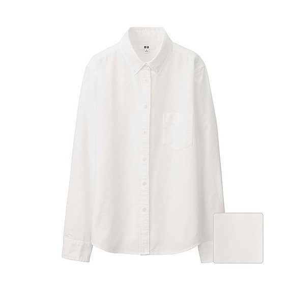 Women Oxford Long Sleeve Shirt White - neckline: shirt collar/peter pan/zip with opening; pattern: plain; style: shirt; predominant colour: white; occasions: casual, creative work; length: standard; fibres: cotton - 100%; fit: straight cut; sleeve length: long sleeve; sleeve style: standard; texture group: cotton feel fabrics; pattern type: fabric; season: a/w 2015; wardrobe: basic