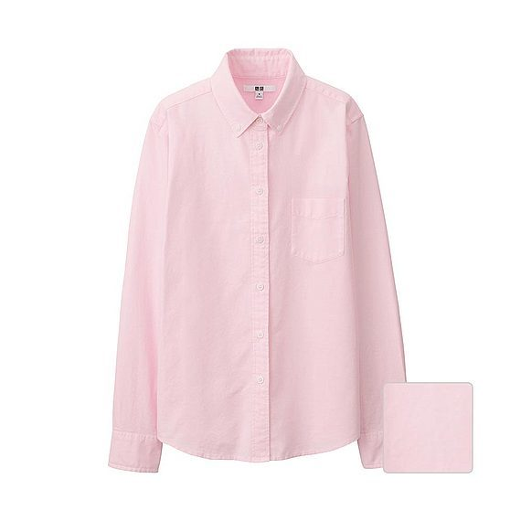 Women Oxford Long Sleeve Shirt Pink - neckline: shirt collar/peter pan/zip with opening; pattern: plain; style: shirt; predominant colour: blush; occasions: casual, creative work; length: standard; fibres: cotton - 100%; fit: straight cut; sleeve length: long sleeve; sleeve style: standard; texture group: cotton feel fabrics; pattern type: fabric; season: a/w 2015; trends: pink aw 15; wardrobe: basic