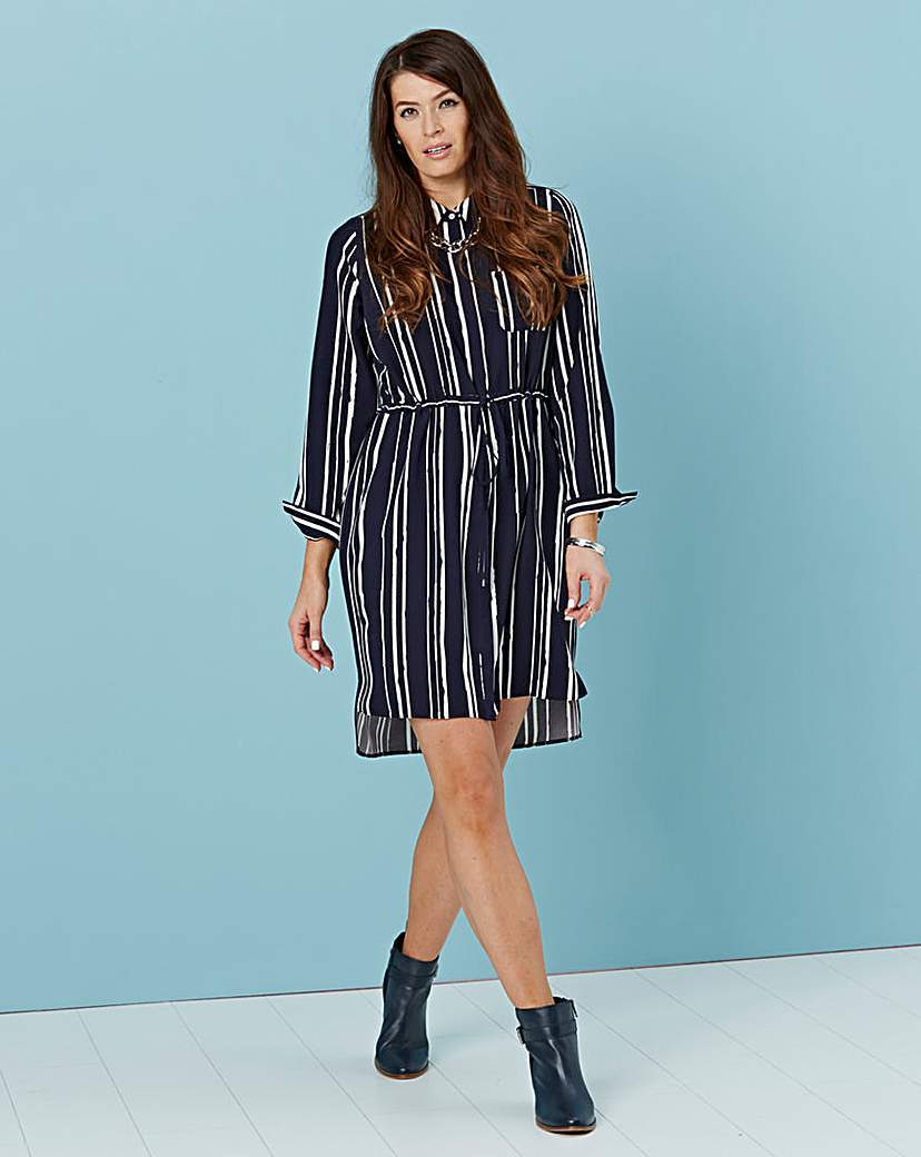 Stripe Shirt Dress - style: shirt; length: mid thigh; neckline: shirt collar/peter pan/zip with opening; pattern: horizontal stripes; bust detail: pocket detail at bust; waist detail: belted waist/tie at waist/drawstring; secondary colour: light grey; predominant colour: black; occasions: evening; fit: body skimming; fibres: polyester/polyamide - stretch; back detail: longer hem at back than at front; sleeve length: long sleeve; sleeve style: standard; pattern type: fabric; texture group: other - light to midweight; multicoloured: multicoloured; season: a/w 2015
