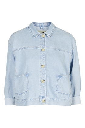 Moto Boxy Crop Denim Jacket - pattern: plain; style: denim; predominant colour: pale blue; occasions: casual, creative work; length: standard; fit: straight cut (boxy); fibres: cotton - 100%; collar: shirt collar/peter pan/zip with opening; sleeve length: 3/4 length; sleeve style: standard; texture group: denim; collar break: high/illusion of break when open; pattern type: fabric; season: a/w 2015; trends: tomboy girl