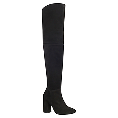 Tallulah Block Heeled Over The Knee Boots, Black Suede - predominant colour: black; occasions: casual, creative work; material: suede; heel height: mid; heel: block; toe: pointed toe; boot length: over the knee; style: standard; finish: plain; pattern: plain; season: a/w 2015; wardrobe: investment