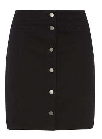 Womens **Tall Black Button Mini Skirt Black - length: mid thigh; pattern: plain; fit: body skimming; waist: mid/regular rise; predominant colour: black; occasions: casual; style: mini skirt; fibres: cotton - mix; texture group: denim; pattern type: fabric; season: a/w 2015; wardrobe: basic