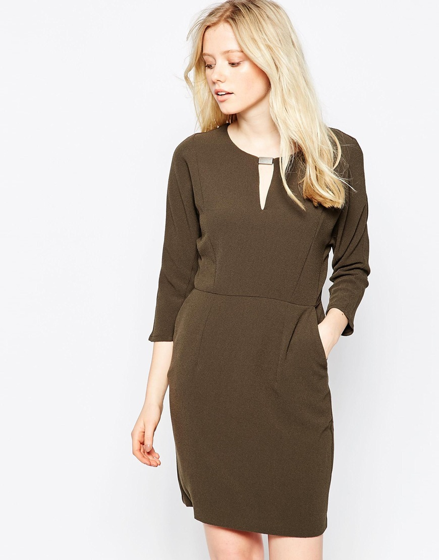 Shift Dress With T Bar Detail Black Olive - style: shift; neckline: round neck; pattern: plain; predominant colour: khaki; occasions: evening, creative work; length: just above the knee; fit: body skimming; fibres: polyester/polyamide - stretch; sleeve length: 3/4 length; sleeve style: standard; pattern type: fabric; texture group: woven light midweight; season: a/w 2015; wardrobe: investment