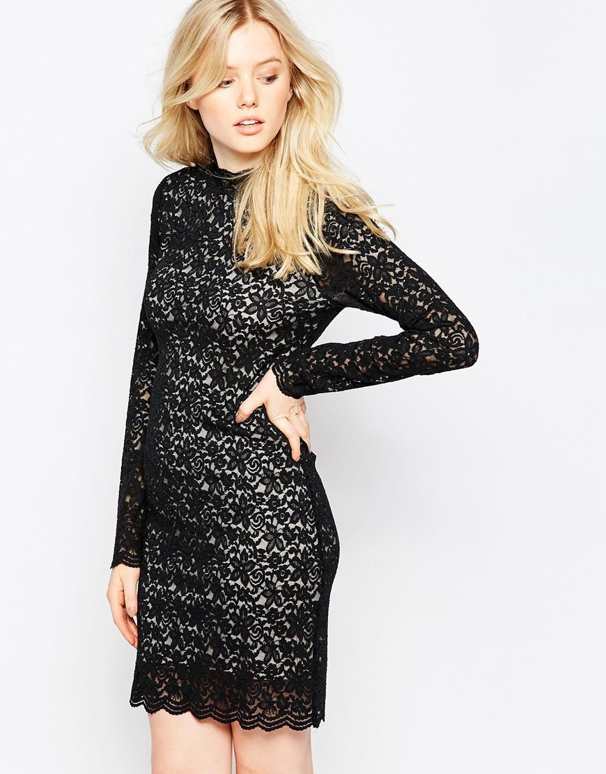 High Neck Lace Bodycon Dress As Pictured - length: mini; fit: tight; neckline: high neck; style: bodycon; hip detail: draws attention to hips; secondary colour: white; predominant colour: black; occasions: evening, occasion; fibres: polyester/polyamide - stretch; sleeve length: long sleeve; sleeve style: standard; texture group: lace; pattern type: fabric; pattern size: standard; pattern: patterned/print; season: a/w 2015; trends: romantic goth; wardrobe: event