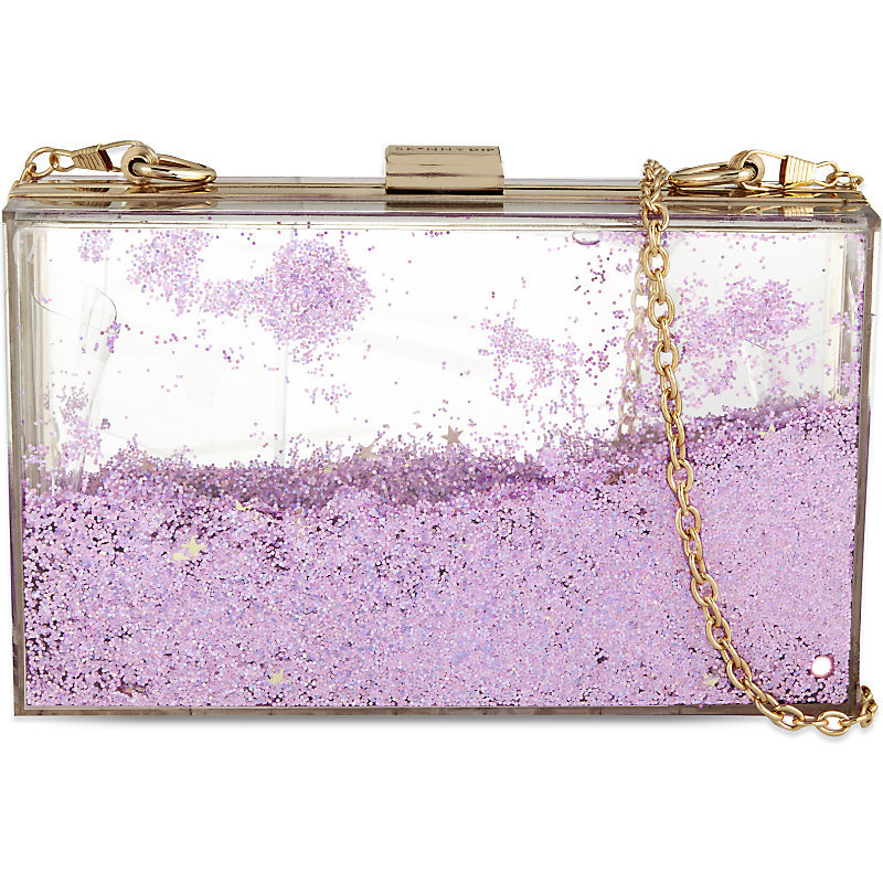 Liquid Glitter Shoulder Clutch, Women's, Pink - predominant colour: lilac; secondary colour: gold; occasions: evening, occasion; type of pattern: standard; style: clutch; length: hand carry; size: standard; material: plastic/rubber; pattern: two-tone; finish: metallic; embellishment: chain/metal; season: a/w 2015