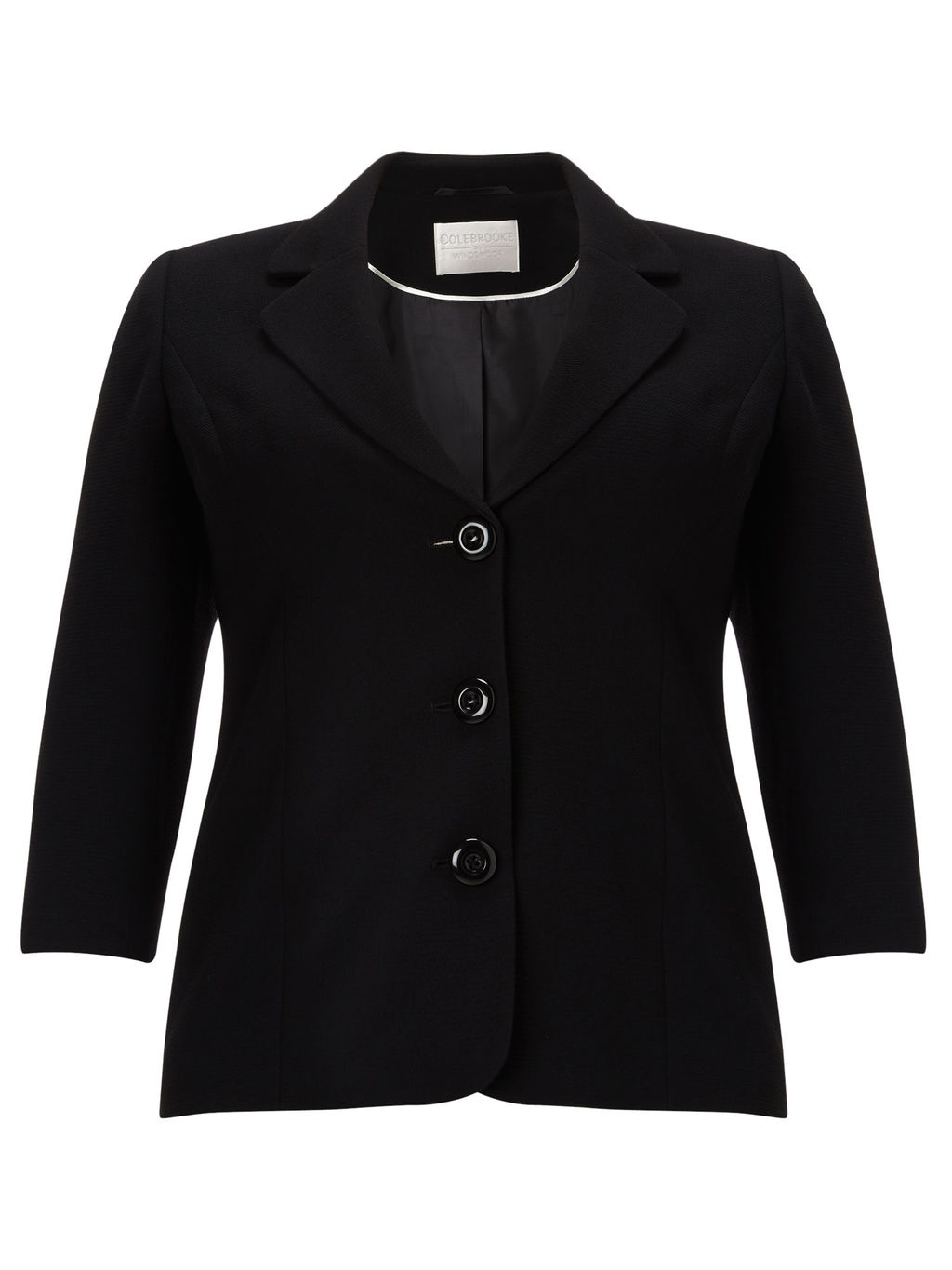 Textured Jacket, Black - pattern: plain; style: single breasted blazer; fit: slim fit; collar: standard lapel/rever collar; predominant colour: black; occasions: work; length: standard; fibres: polyester/polyamide - 100%; sleeve length: 3/4 length; sleeve style: standard; collar break: medium; pattern type: fabric; texture group: woven light midweight; season: a/w 2015; wardrobe: investment