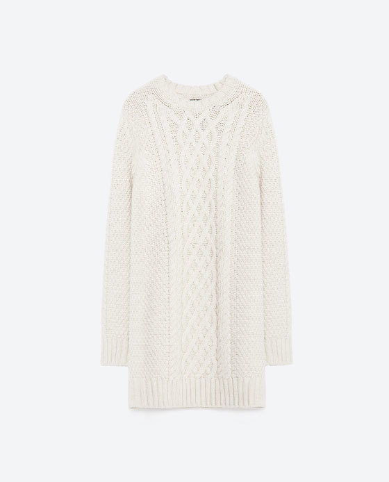 Cable Knit Dress - style: jumper dress; length: mid thigh; neckline: round neck; pattern: plain; predominant colour: ivory/cream; occasions: casual, creative work; fit: straight cut; fibres: acrylic - mix; sleeve length: long sleeve; sleeve style: standard; texture group: knits/crochet; pattern type: knitted - fine stitch; season: a/w 2015; wardrobe: basic