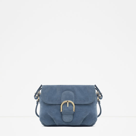 Suede Messenger Bag With Buckle - predominant colour: denim; occasions: casual; type of pattern: standard; style: messenger; length: across body/long; size: standard; material: suede; pattern: plain; finish: plain; embellishment: chain/metal; season: a/w 2015; wardrobe: highlight