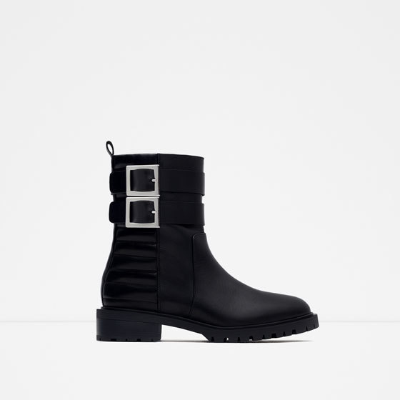 Flat Leather Biker Ankle Boots - predominant colour: black; occasions: casual; material: leather; heel height: flat; embellishment: buckles; heel: standard; toe: round toe; boot length: ankle boot; style: biker boot; finish: plain; pattern: plain; shoe detail: tread; season: a/w 2015; wardrobe: basic