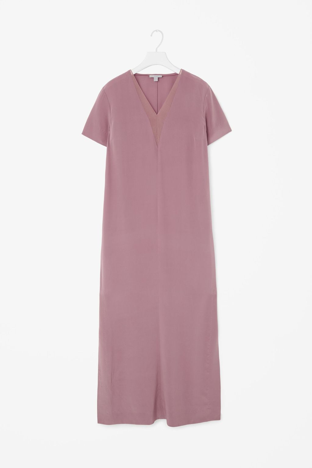 Long V Neck Silk Dress - style: shift; neckline: v-neck; pattern: plain; predominant colour: pink; length: just above the knee; fit: soft a-line; fibres: silk - 100%; occasions: occasion; sleeve length: short sleeve; sleeve style: standard; pattern type: fabric; texture group: other - light to midweight; season: a/w 2015; wardrobe: event