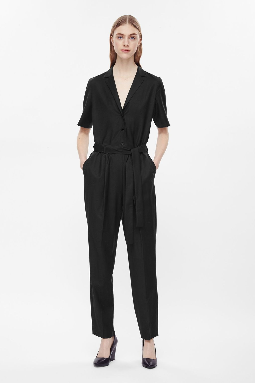 Belted Jumpsuit - length: standard; neckline: v-neck; pattern: plain; waist detail: belted waist/tie at waist/drawstring; predominant colour: black; occasions: evening, creative work; fit: body skimming; fibres: wool - 100%; sleeve length: short sleeve; sleeve style: standard; style: jumpsuit; pattern type: fabric; texture group: woven light midweight; season: a/w 2015; wardrobe: highlight