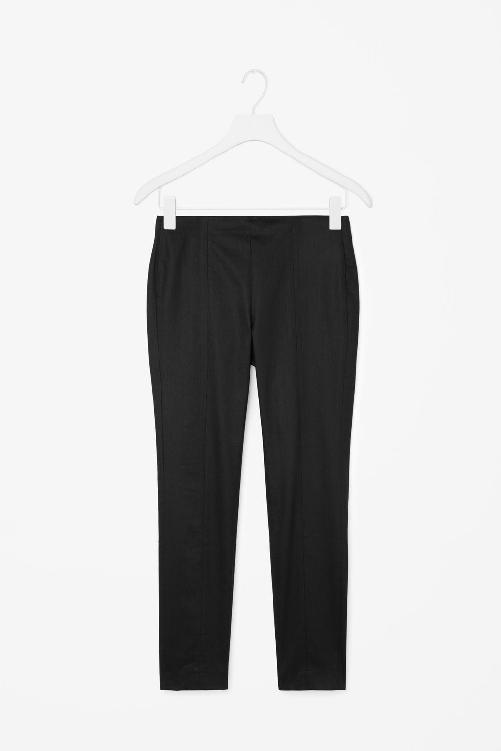 Skinny Side Zip Trousers - length: standard; pattern: plain; waist: mid/regular rise; predominant colour: black; occasions: work; fibres: cotton - stretch; fit: skinny/tight leg; pattern type: fabric; texture group: woven light midweight; style: standard; season: a/w 2015; wardrobe: basic