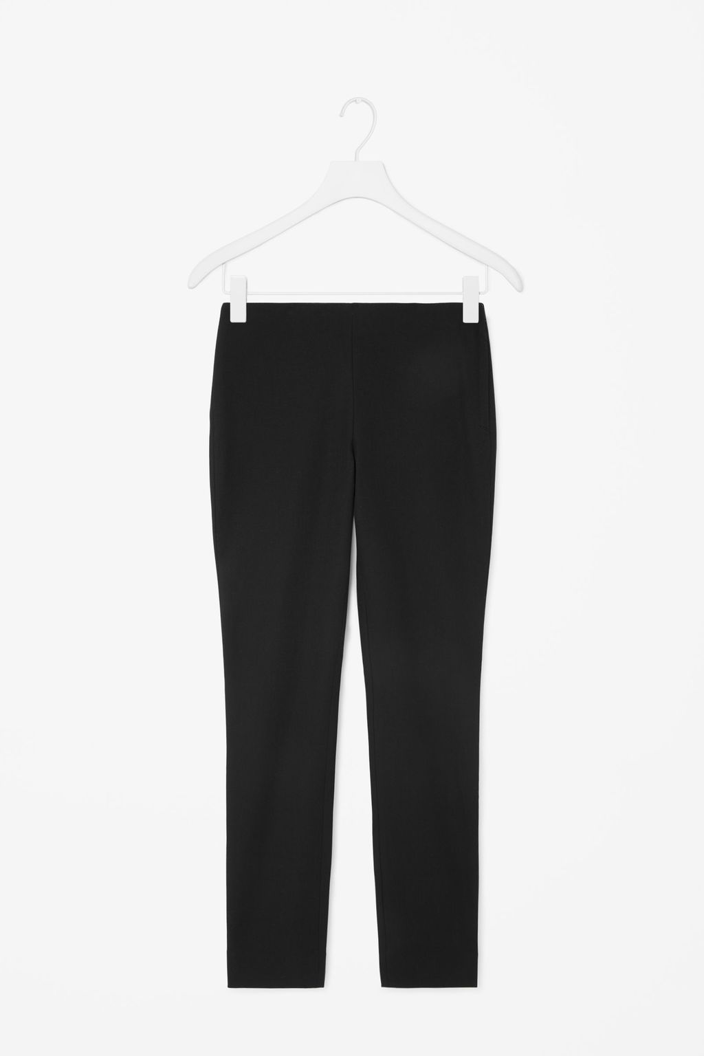 Slim Fit Trousers - length: standard; pattern: plain; waist: mid/regular rise; predominant colour: black; occasions: work, creative work; fibres: cotton - stretch; fit: slim leg; pattern type: fabric; texture group: woven light midweight; style: standard; season: a/w 2015; wardrobe: basic