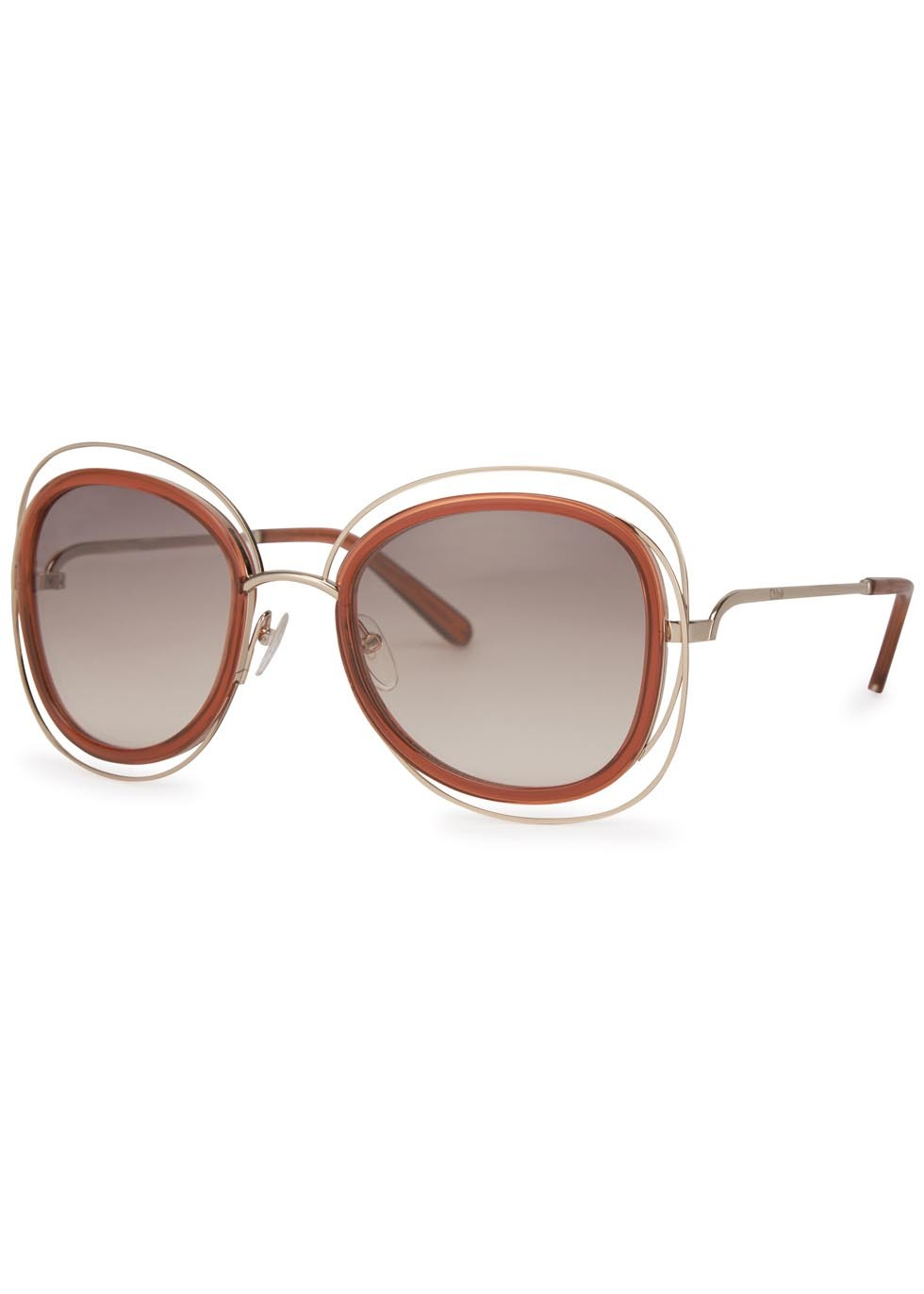 Carlina Gold Tone Oversized Sunglasses - secondary colour: gold; occasions: casual, holiday; style: round; size: large; material: plastic/rubber; finish: plain; pattern: colourblock; predominant colour: clear; season: a/w 2015; wardrobe: highlight