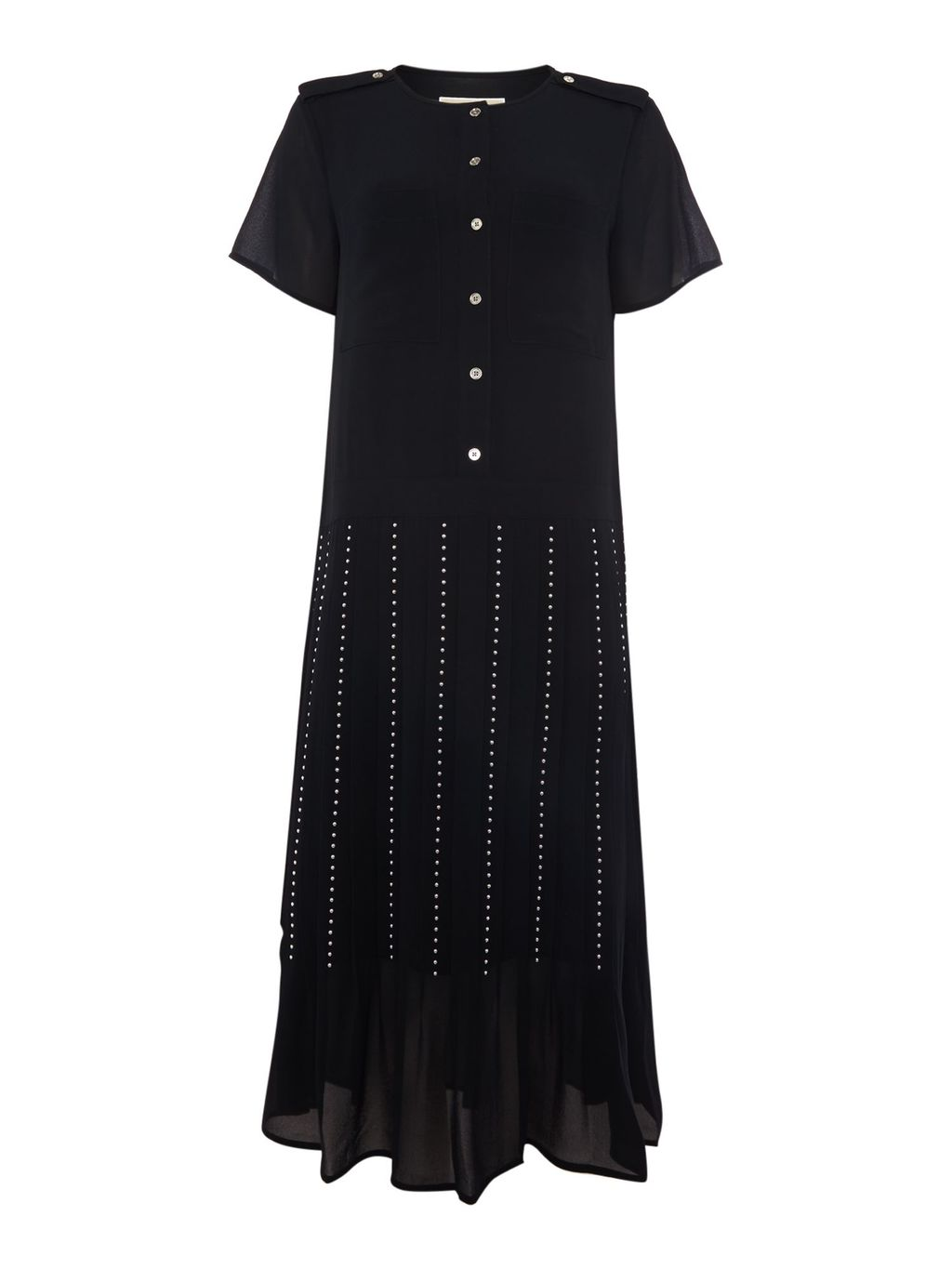 Short Sleeve Pleat Embellished Skirt, Navy - length: calf length; pattern: striped; fit: body skimming; style: pleated; waist: high rise; predominant colour: navy; fibres: polyester/polyamide - 100%; hip detail: soft pleats at hip/draping at hip/flared at hip; texture group: sheer fabrics/chiffon/organza etc.; pattern type: fabric; occasions: creative work; season: a/w 2015; wardrobe: highlight