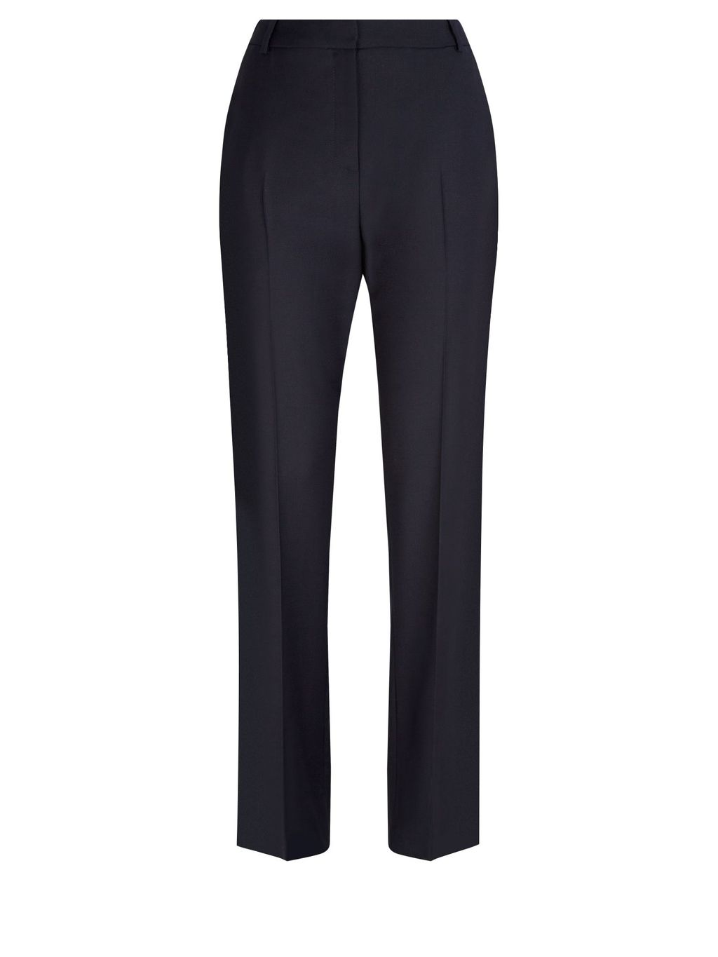 Chiltern Wool Stretch Trousers, Navy - length: standard; pattern: plain; waist: high rise; predominant colour: navy; occasions: work; fibres: wool - stretch; fit: straight leg; pattern type: fabric; texture group: woven light midweight; style: standard; season: a/w 2015; wardrobe: basic